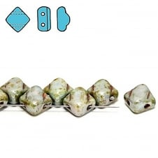 Silky Czech Glass Beads 5x3mm - Chalk Lazure Lustre - 25 beads