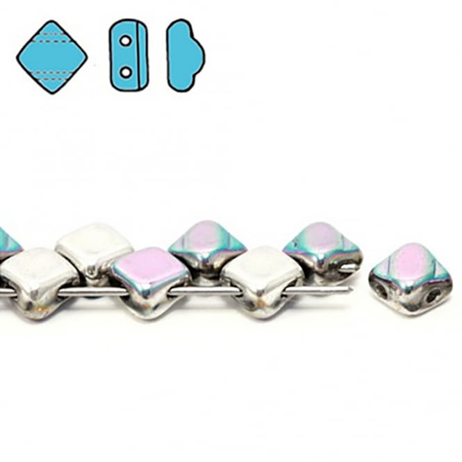 Silky Czech Glass Beads 5x3mm - Glittery Silver - 25 beads