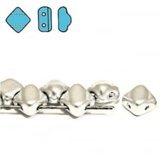 Silky Czech Glass Beads 5x3mm - Matte Metallic Silver - 25 beads