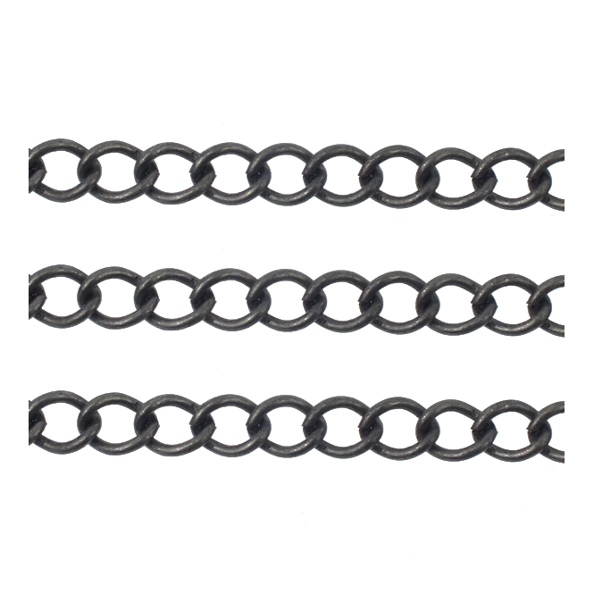 Small Curb Chain 5x3.5mm - Antique Silver Plated - 1 metre