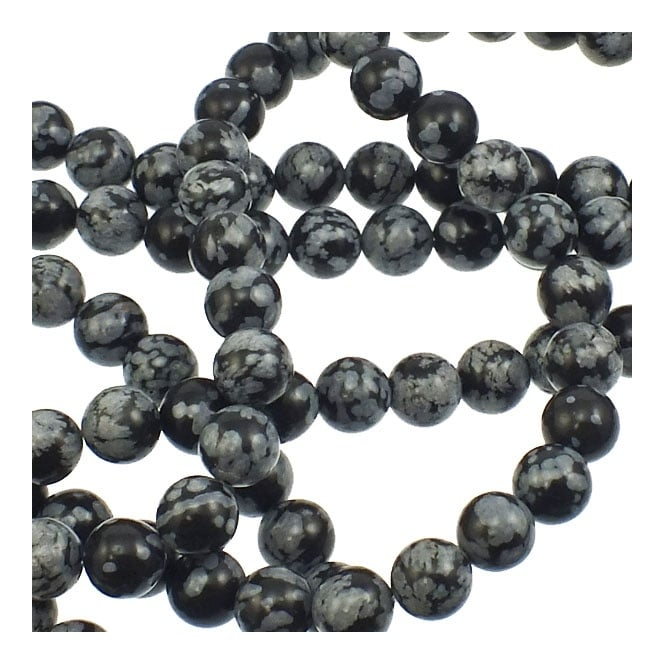 "Snowflake Obsidian Round Beads 8mm - 15.5"" Strand"