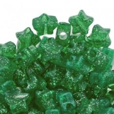 Star Pony Beads Plastic 12mm - Glitter Green - 50pk