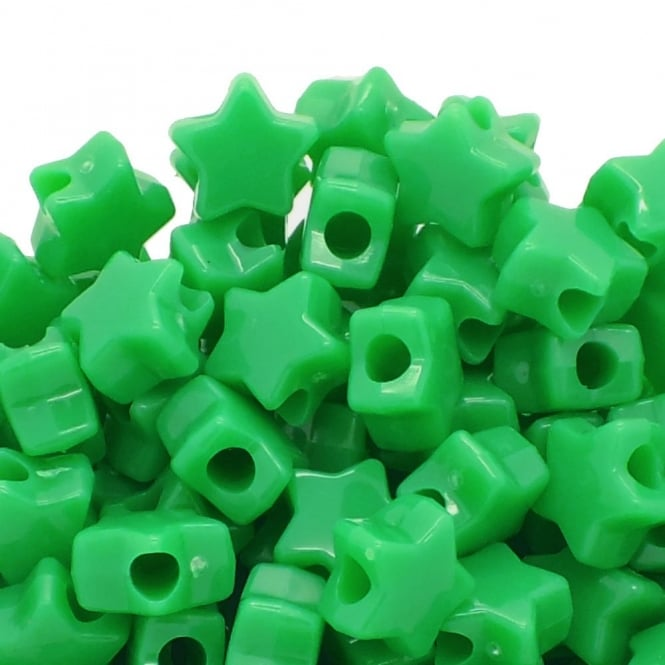 Star Pony Beads Plastic 12mm - Neon Lime Green - 50pk