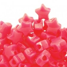 Star Pony Beads Plastic 12mm - Neon Pink - 50pk