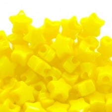 Star Pony Beads Plastic 12mm - Neon Yellow - 50pk
