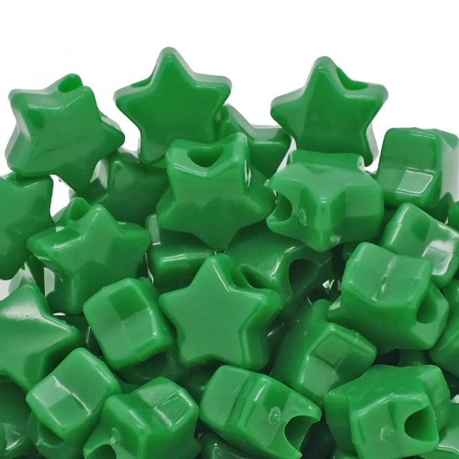 Star Pony Beads Plastic 12mm - Opaque Green - 50pk