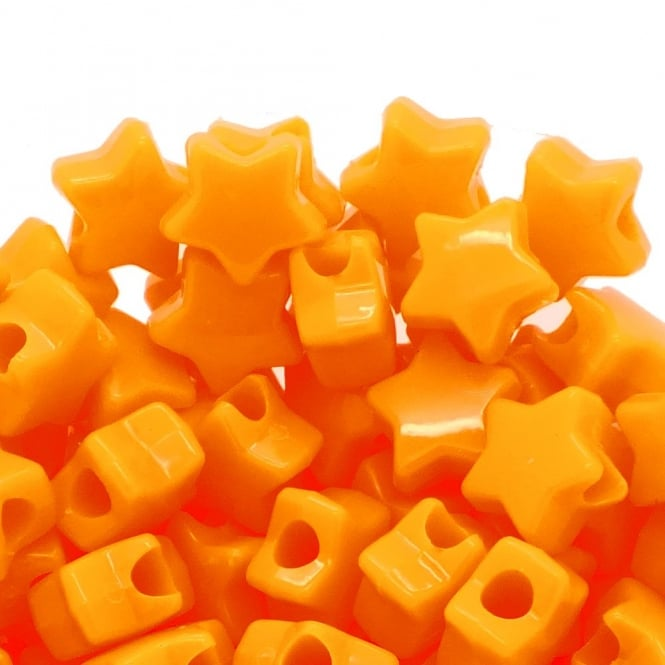 Star Pony Beads Plastic 12mm - Opaque Orange - 50pk