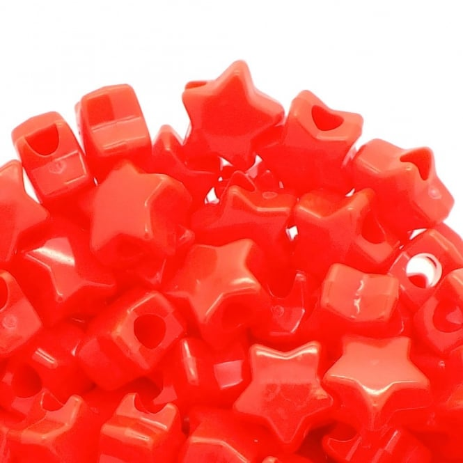 Star Pony Beads Plastic 12mm - Opaque Red - 50pk