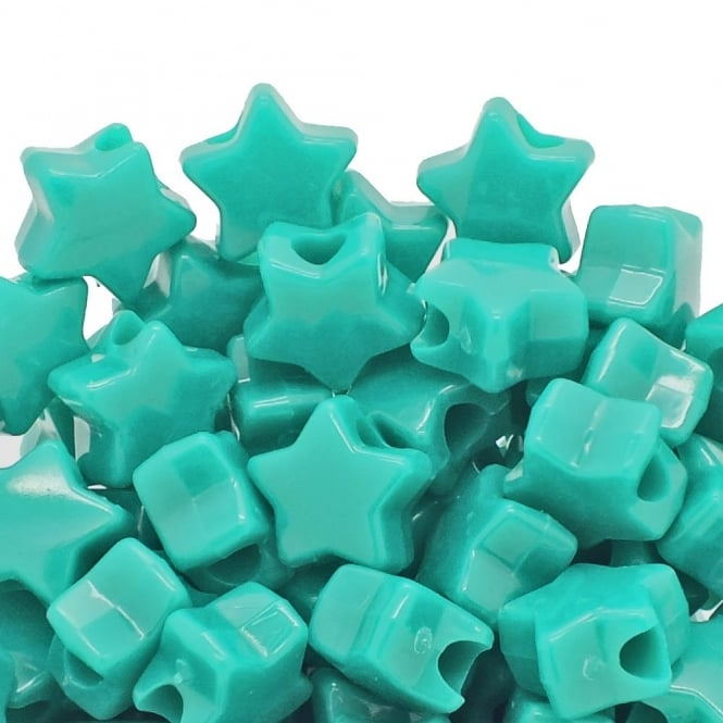 Star Pony Beads Plastic 12mm - Opaque Turquoise - 50pk