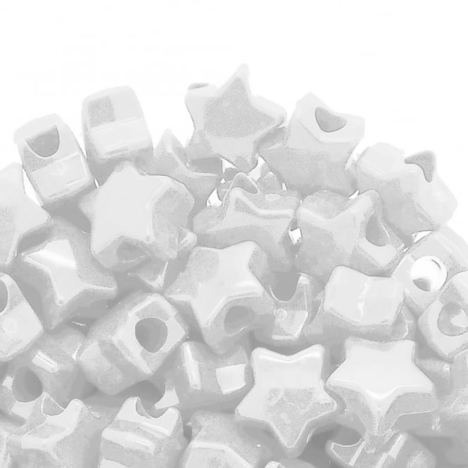 Star Pony Beads Plastic 12mm - Opaque White - 50pk