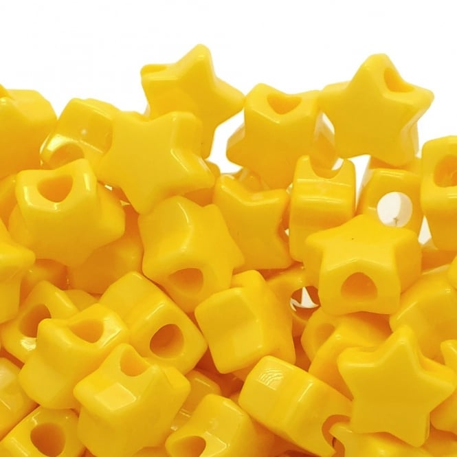 Star Pony Beads Plastic 12mm - Opaque Yellow - 50pk