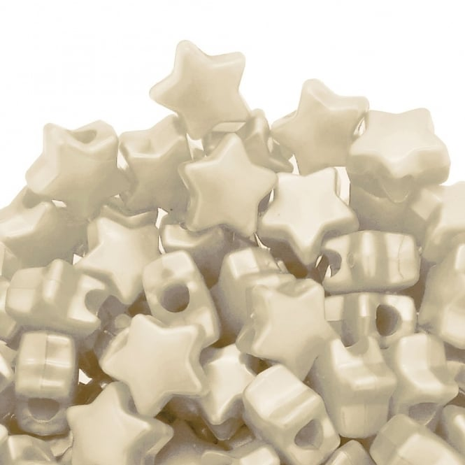 Star Pony Beads Plastic 12mm - Pearl Cream - 50pk