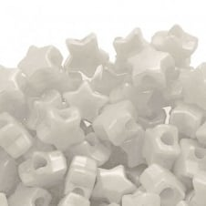 Star Pony Beads Plastic 12mm - Pearl White - 50pk
