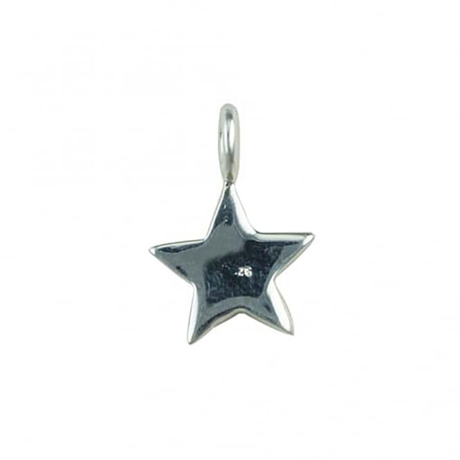 Sterling Silver - 10mm Flat Star Shape Charm - 1pc