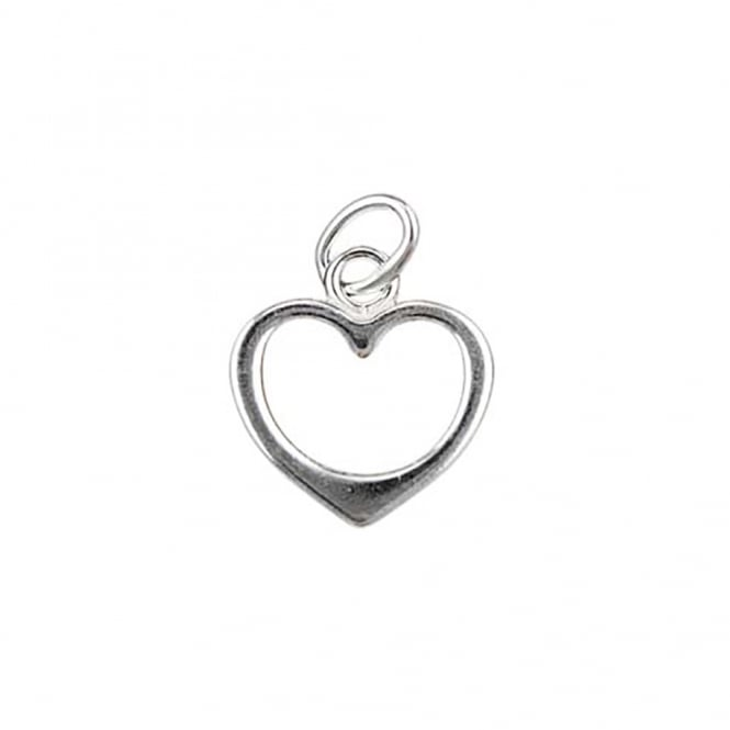 Sterling Silver - 10mm Open Heart Shape Charm Pendant - 1pc
