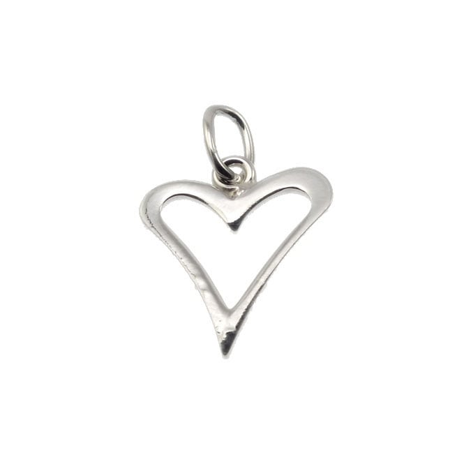 jewellery sterling supplies charm findings necklace charms beads the heart sliver silver and bead shop open flat medium beading
