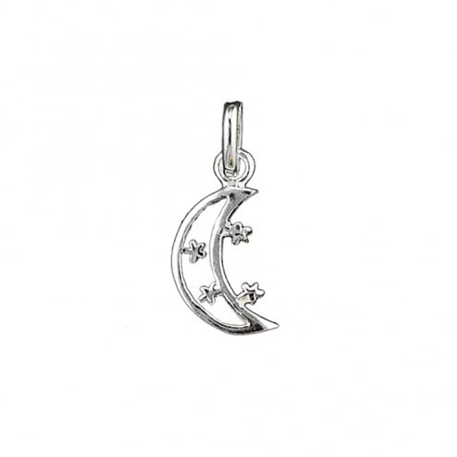 Sterling Silver - 16mm Crescent Moon with Stars Charm - 1pc