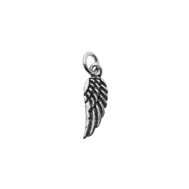 Sterling Silver - 16x5mm Antiqued Angel Wing Charm - 1pc