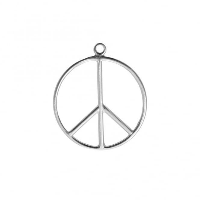 Sterling Silver - 20mm Peace Sign Charm - 1pc