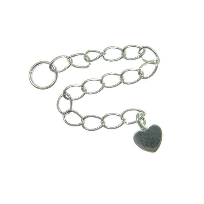 Sterling Silver - Extension Chain with Flat Heart - 1pk