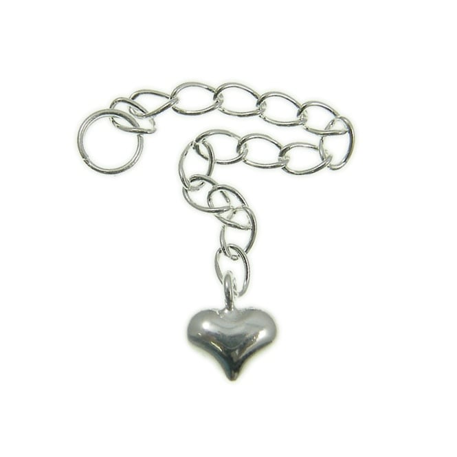 Sterling Silver - Extension Chain with Puffed Heart - 1pk