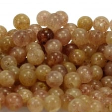 Strawberry Quartz Round Gemstone Beads 10mm - 5pcs