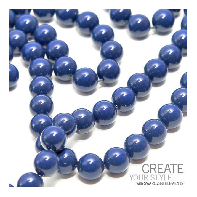5810 10mm Round Pearl Beads - Crystal Dark Lapis - 5pk