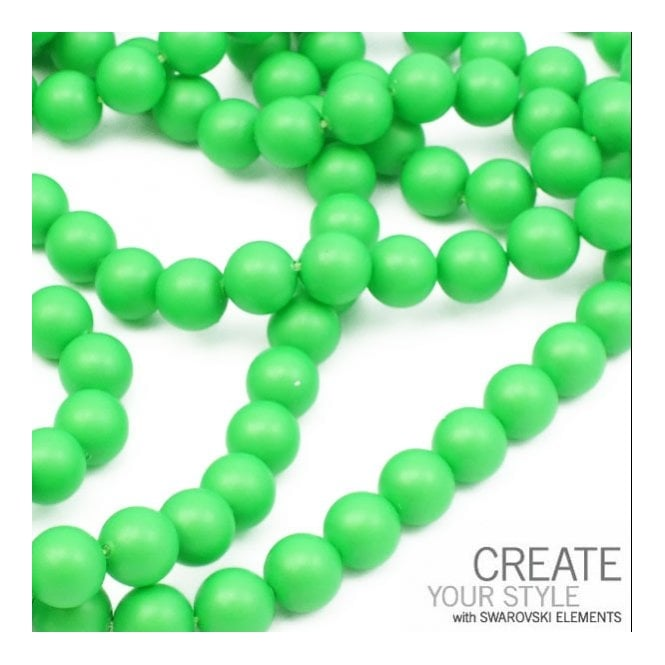 5810 10mm Round Pearl Beads - Crystal Neon Green - 5pk