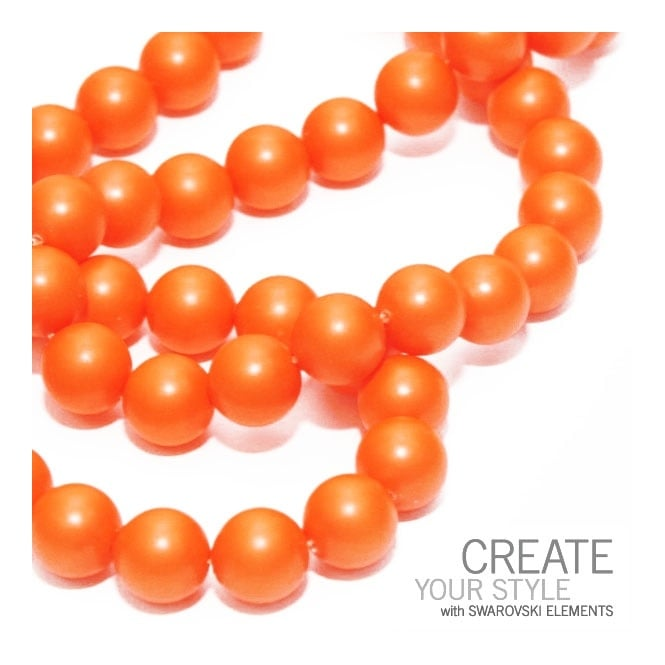 Swarovski 5810 10mm Round Pearl Beads - Crystal Neon Orange - 5pk