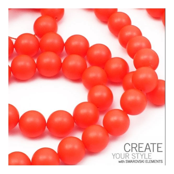 5810 10mm Round Pearl Beads - Crystal Neon Red - 5pk