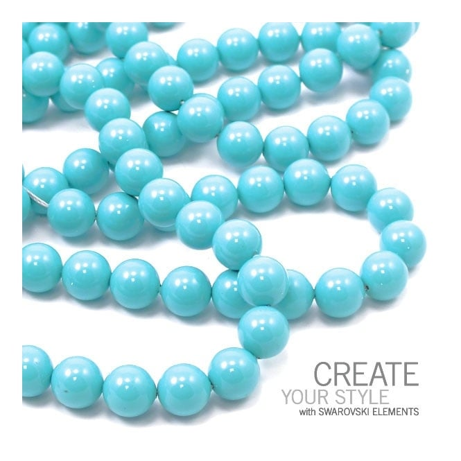 5810 10mm Round Pearl Beads - Crystal Turquoise - 5pk