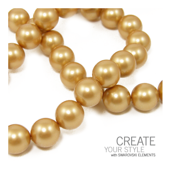 5810 10mm Round Pearl Beads - Crystal Vintage Gold - 5pk