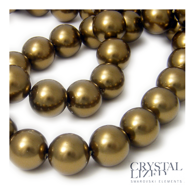 5810 12mm Round Pearl Beads - Crystal Antique Brass - 5pk