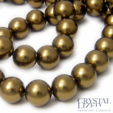 Swarovski 5810 12mm Round Pearl Beads - Crystal Antique Brass - 5pk