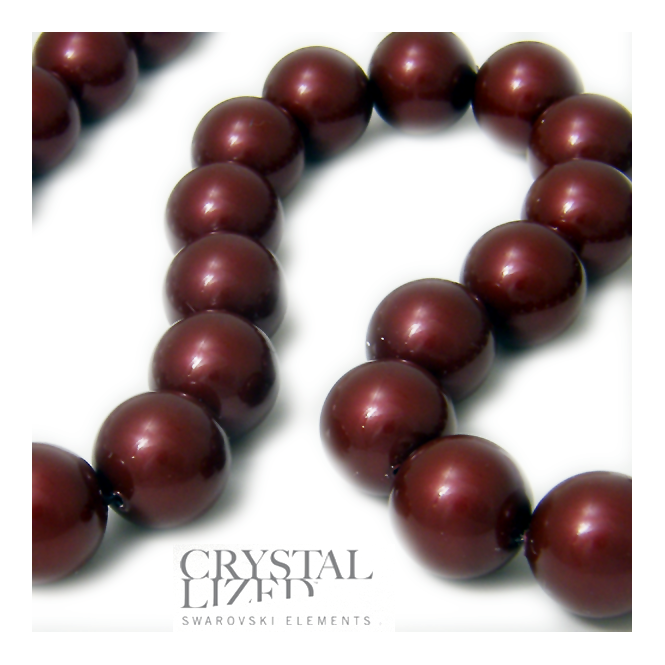 5810 12mm Round Pearl Beads - Crystal Bordeaux - 5pk