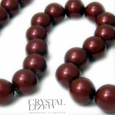 Swarovski 5810 12mm Round Pearl Beads - Crystal Bordeaux - 5pk