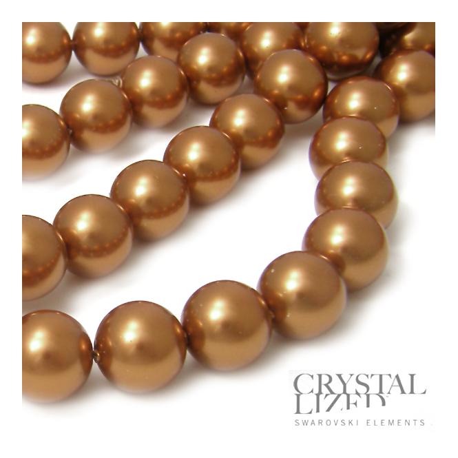 Swarovski 5810 12mm Round Pearl Beads - Crystal Copper - 5pk