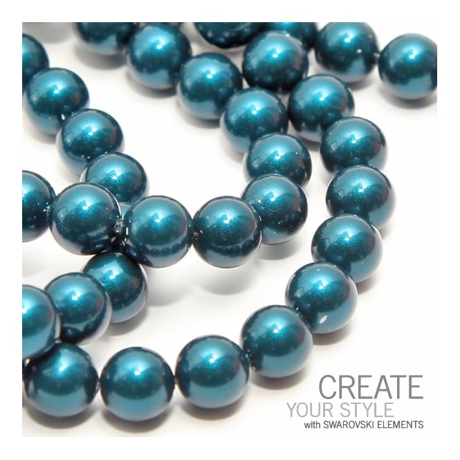 5810 12mm Round Pearl Beads - Crystal Petrol - 5pk