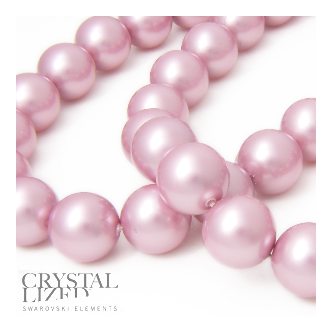 5810 12mm Round Pearl Beads - Crystal Powder Rose - 5pk