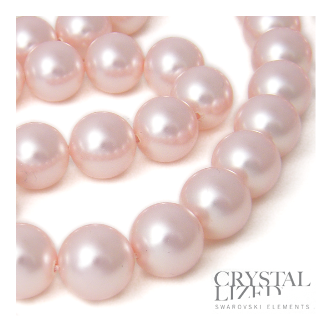 5810 12mm Round Pearl Beads - Crystal Rosaline - 5pk