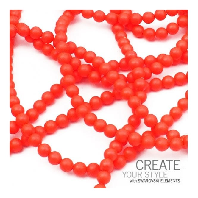 5810 3mm Round Pearl Beads - Crystal Neon Red - 200pk