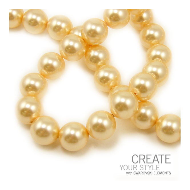 Swarovski 5810 10mm Round Pearl Beads - Crystal Light Gold - 5pk