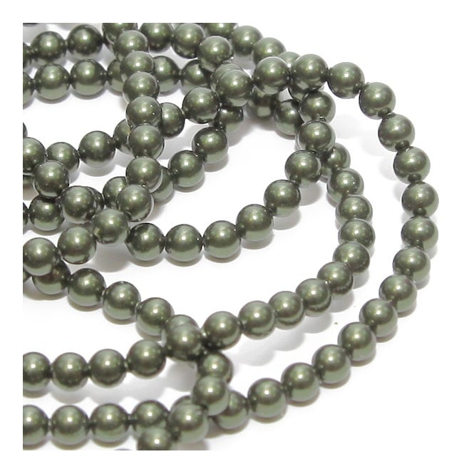 5810 4mm Round Pearl Beads - Crystal Dark Green - 50pk
