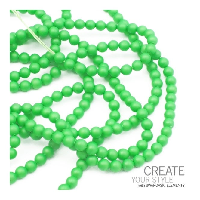 Swarovski 5810 4mm Round Pearl Beads - Crystal Neon Green - 50pk