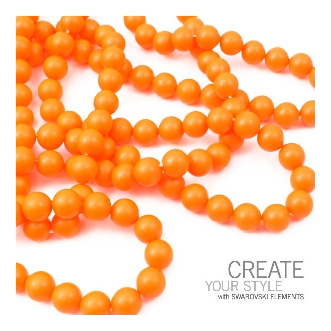 Swarovski 5810 4mm Round Pearl Beads - Crystal Neon Orange - 50pk