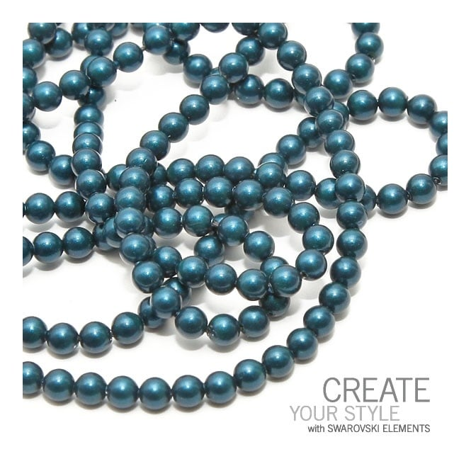 5810 4mm Round Pearl Beads - Crystal Petrol - 50pk
