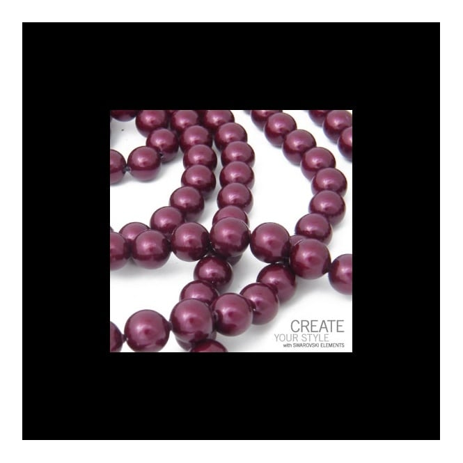 Swarovski 5810 6mm Round Pearl Beads - Crystal Blackberry - 25pk