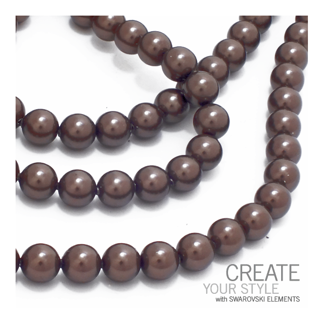 5810 6mm Round Pearl Beads - Crystal Brown - 25pk