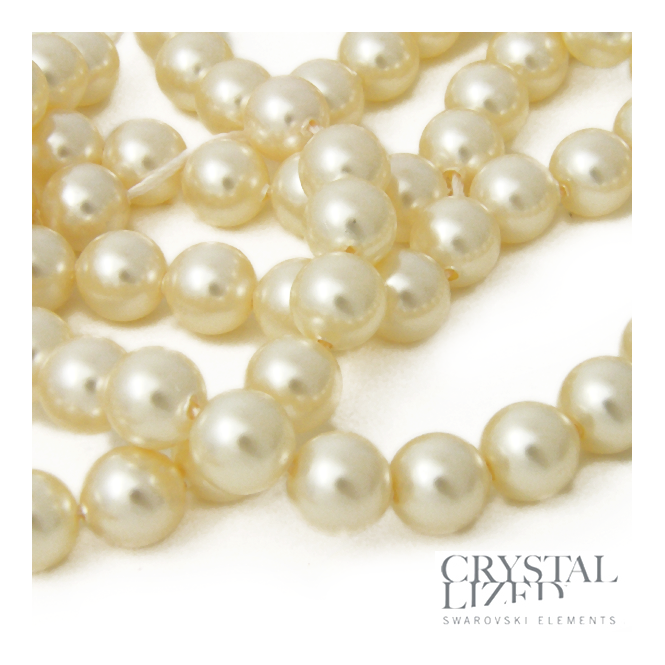 5810 6mm Round Pearl Beads - Crystal Cream - 25pk