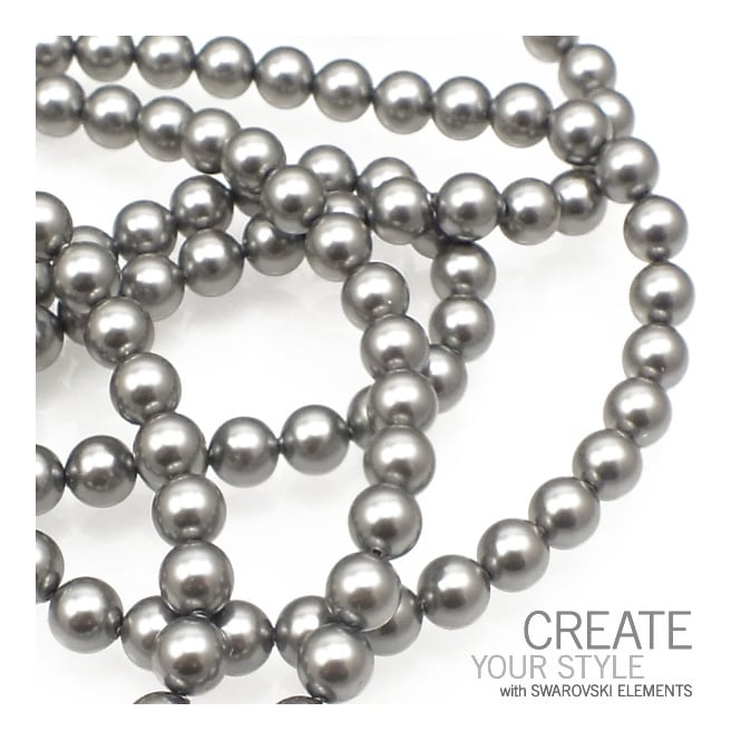 5810 6mm Round Pearl Beads - Crystal Grey - 25pk